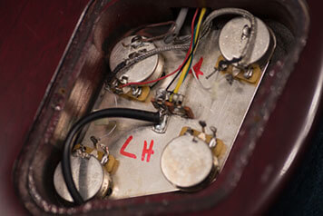 Potentiometers in a left handed Gibson Les Paul Studio