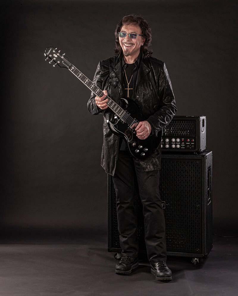 Tony Iommi holding an Epiphone SG
