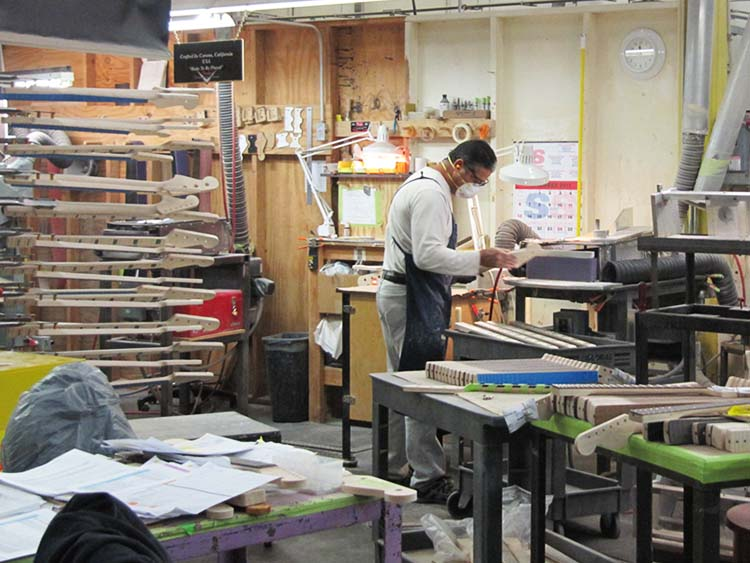 Fender guitar factory neck production