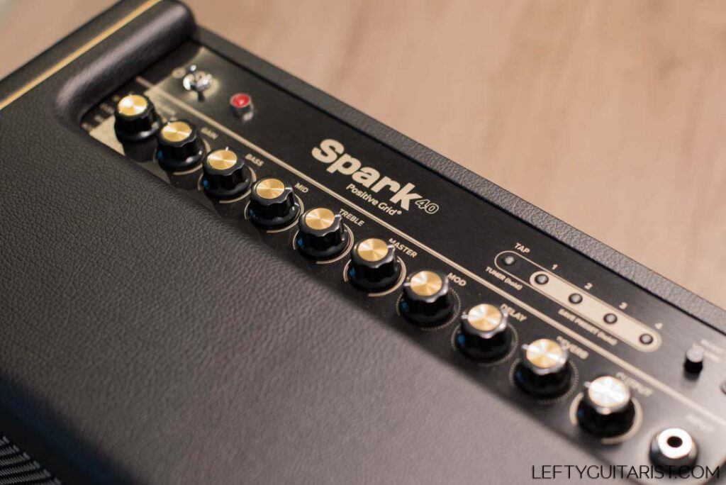 View of Positive Grid Spark 40 Amplifier Knobs