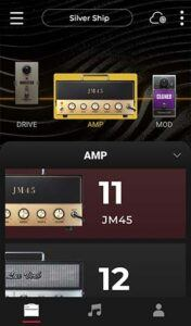 Positive Grid Spark App Amps Screen
