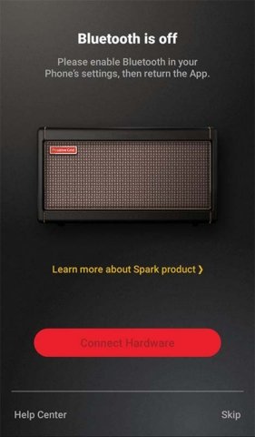 Positive Grid Spark App Bluetooth Off