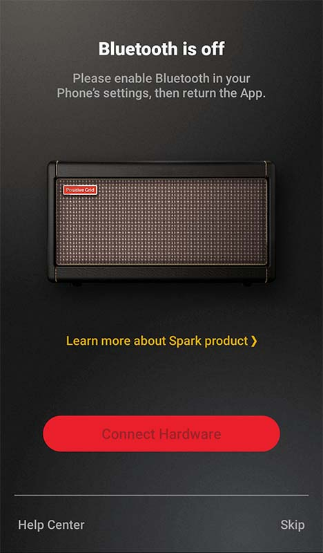 Positive Grid Spark App Bluetooth Off