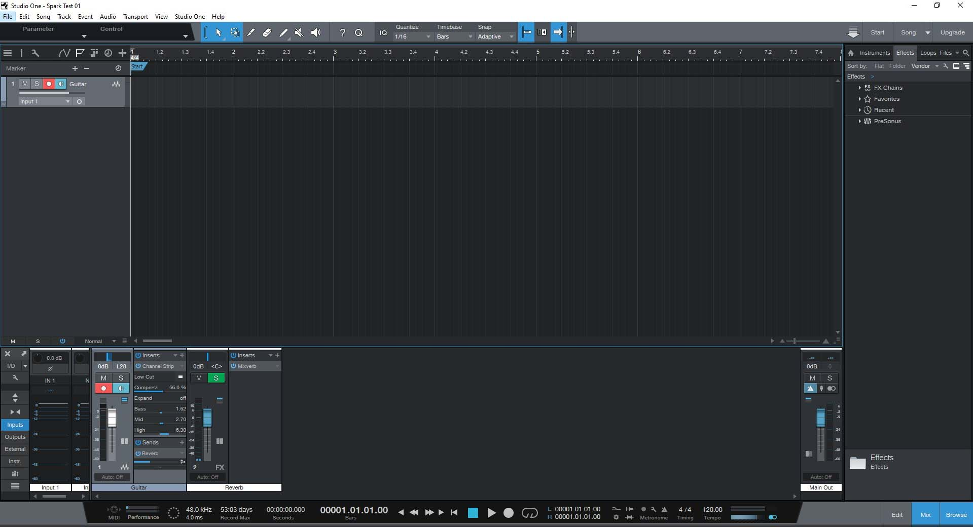 PreSonus Studio One Prime Guitar Track