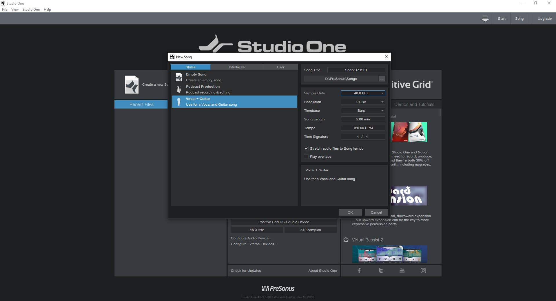 PreSonus Studio One Prime New Song Screen