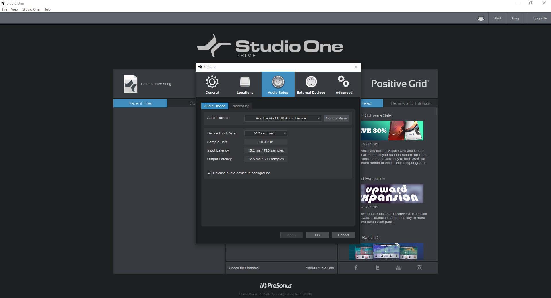 PreSonus Studio One Prime Setup Screen