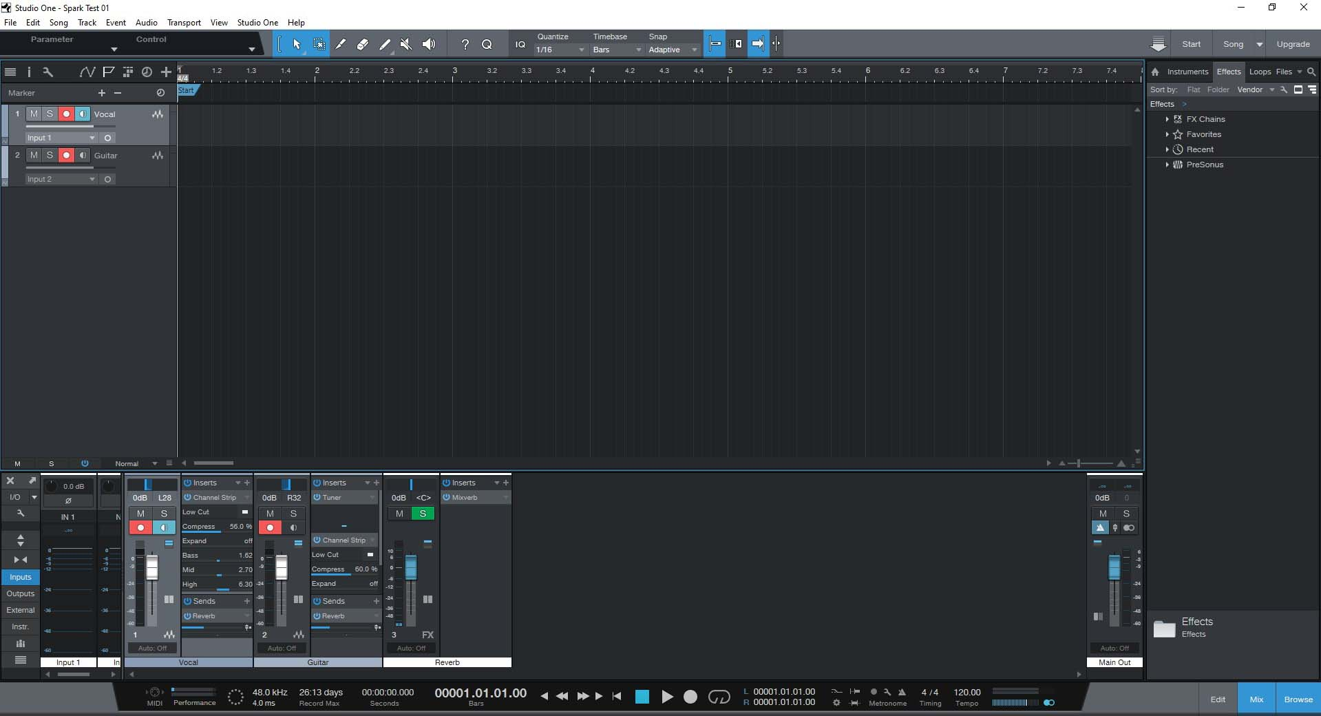 PreSonus Studio One Prime Vocal & Guitar Tracks