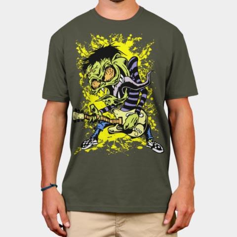 Left Handed Guitar Shirts - Zombie Rock Musicians T-Shirt