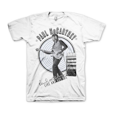 """A T-Shirt featuring Paul McCarney holing a left handed Rickenbacker bass guitar. The T-shirt's text reads """"Paul McCartney"""" at the top and under Paul's image is his signature and the text """"Live and Let Die""""."""