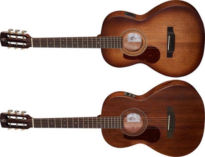 Left Handed Harley Benton Acoustic Guitars - Two CLP-15ME guitars in vintage sunburst and natural matte finishes