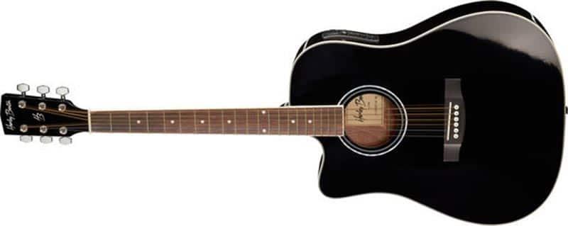 Left Handed Harley Benton Acoustic Guitars - A black D-120CE-LH