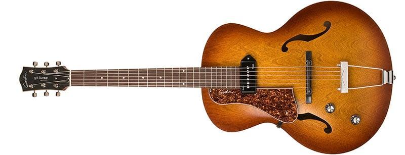 Left Handed Godin Guitars - A left-handed 5th Avenue Kingpin P90 with Cognac Burst finish
