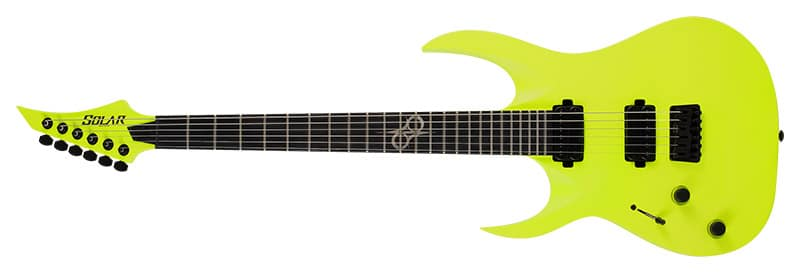 Left Handed Solar Guitars - A2.6LN LH with a Lemon Neon finish