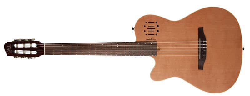 Left Handed Godin Guitars - A left-handed Multiac Nylon Encore with a natural semi-gloss finish