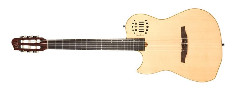 Left Handed Godin Guitars - A left-handed Multiac Nylon String with a natural high gloss finish