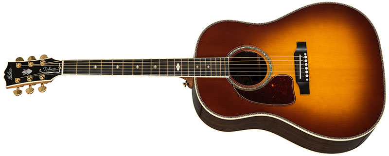 Left Handed Gibson Acoustic Guitars - J-45 Deluxe Rosewood (Rosewood Burst)