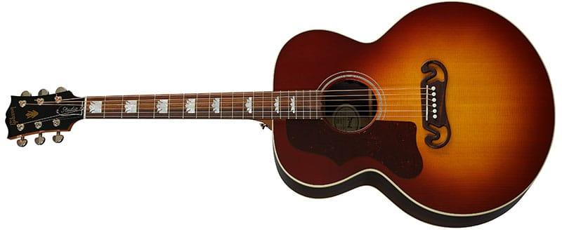 Left Handed Gibson Acoustic Guitars - SJ-200 Studio Rosewood (Rosewood Burst)