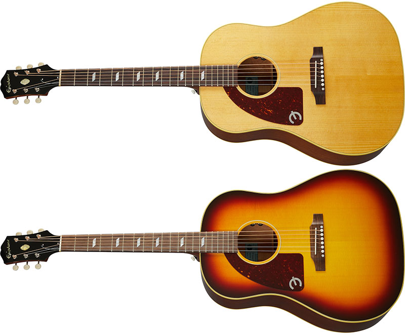 Left Handed Epiphone Guitars - Two Epiphone Texan USA's; one Antique Natural, and one Vintage Sunburst