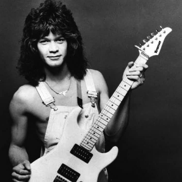 Eddie Van Halen with a Kramer guitar
