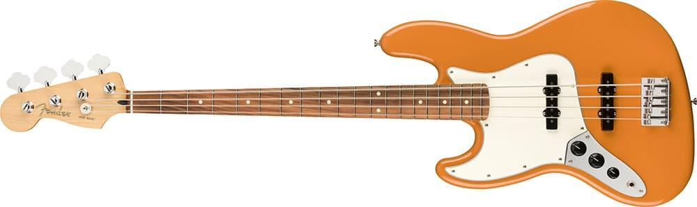 Left Handed Fender Guitars - Player Jazz Bass (Capri Orange)